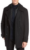 Andrew Marc Cushing Wool Blend Peacoat with Detachable Bib