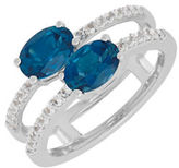 Lord & Taylor Blue, White Topaz and Sterling Silver Ring