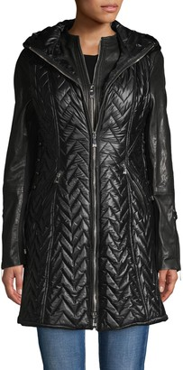 Dawn Levy Aries Quilted Chevron 3-in-1 Leather Coat