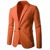 Qiyun Men's Casual Solid Suit Jackets Slim Fit One Button Blazer Coats