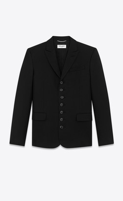 Saint Laurent Blazer Jacket Seven-button Jacket In Wool Gabardine Black 34