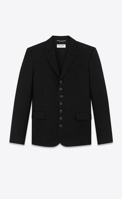 Blazer Jacket Seven-button Jacket In Wool Gabardine Black 34