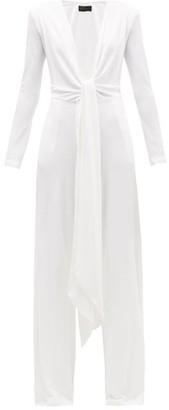 Dundas Plunge-neck Jersey Wide-leg Jumpsuit - White