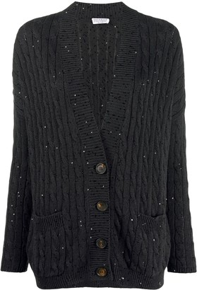 Brunello Cucinelli V-neck sequin-embellished cardigan