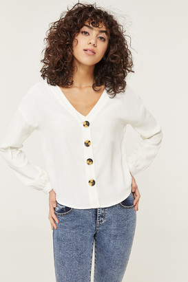 Ardene Button Front V-Neck Blouse