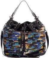 Printed Canvas Leather Trim Drawstring Bucket Bag