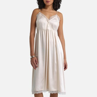 La Redoute Collections Cami Midi Slip Dress in Satin Finish with Shoestring Straps