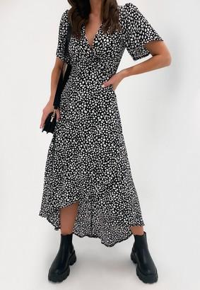 Missguided Black Dalmatian Print High Low Midi Dress