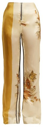 Kwaidan Editions Vallens Wide-leg Floral-print Trousers - Womens - Beige Multi
