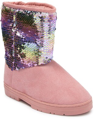 Bebe Microsuede Sequin Faux Fur Lined Winter Boot