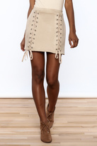 Honey Punch Nude High Waist Skirt
