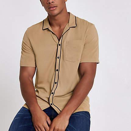 River Island Mens Ecru short sleeve shirt