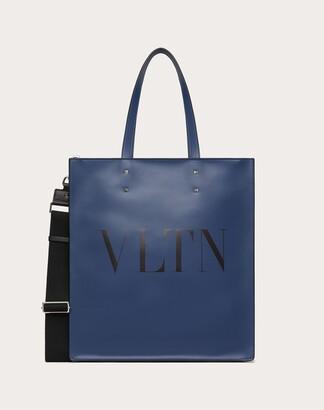 Valentino Garavani Uomo Vltn Leather Tote Bag Man Black/white 100% Pelle Bovina - Bos Taurus OneSize