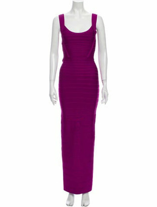 Herve Leger Scoop Neck Long Dress Purple