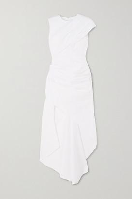 16Arlington Aster Asymmetric Ruched Cotton-poplin Dress - White