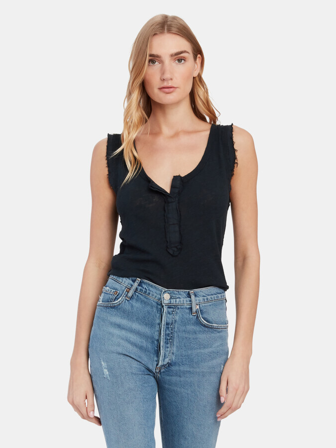 Free People Vacay Faux Button Down Tank