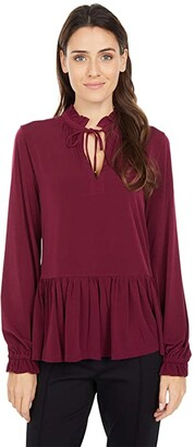 MICHAEL Michael Kors Solid Tie Neck Ruffle Top (Dark Ruby) Women's Clothing
