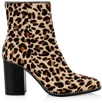 Coach Drea Ball-Trim Leopard-Print Calf Hair Ankle Boots
