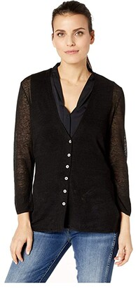 Nic+Zoe Petite Divine Cardy (Black Onyx) Women's Clothing