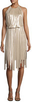 Halston Pieced Metallic Halter Dress, Champagne