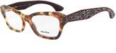 Miu Miu Tortoiseshell Crystal-Arm Rectangle Eyeglasses