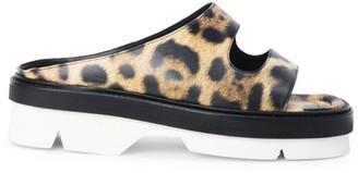 Dries Van Noten Leopard-Print Leather Platform Slides