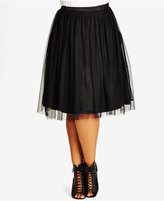City Chic Trendy Plus Size Pleated A-Line Skirt