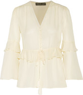 Rachel Zoe Rome ruffled silk crepe de chine blouse
