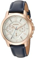 Fossil Women's Quartz Stainless Steel and Leather Automatic Watch, Color:Blue (Model: ES4040)