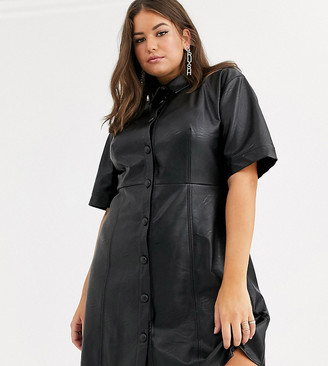 ASOS DESIGN Curve leather look mini button through shirt dress in black