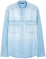 Balmain Light Blue Faded Denim Shirt