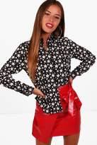 boohoo Petite Lucinda Star Print Oversized Shirt