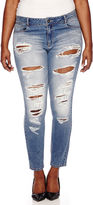 Blue Spice Destructed High-Rise Skinny Jeans - Juniors Plus
