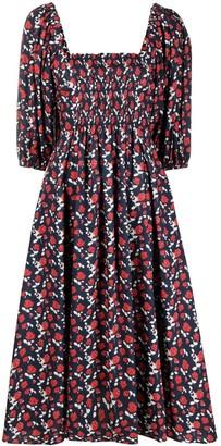 P.A.R.O.S.H. Floral-Print Smocked Cotton Dress