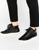 New Look Leather Look High Top Trainer