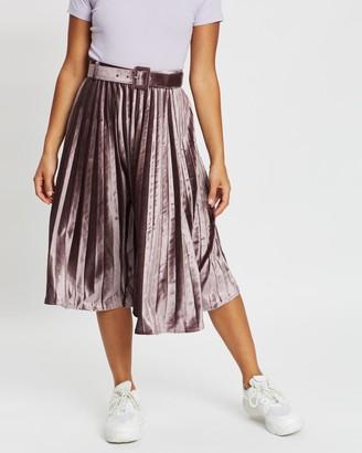 Missguided Petite Belted Pleated Midi Skirt