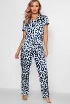 boohoo Lily Aqua Leopard Button PJ Trouser Set