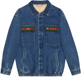 Gucci Washed denim jacket with Web