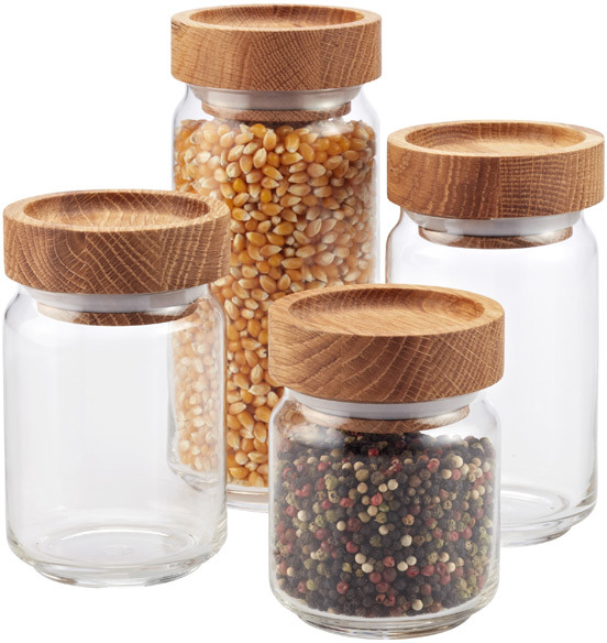 Container Store Artisan Glass Canisters with Oak Lids