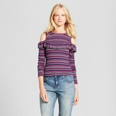 Mossimo Women's Knit Cold Shoulder Long Sleeve Stripe T-Shirt
