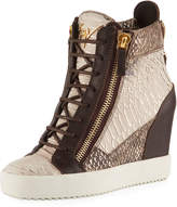 Giuseppe Zanotti Exotic-Embossed High Wedge Sneaker, Brown Pattern