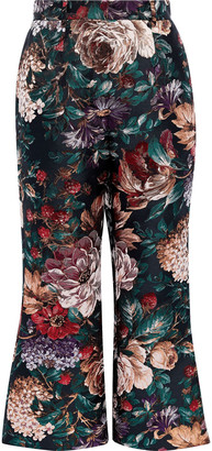 Dolce & Gabbana Metallic Floral-jacquard Kick-flare Pants