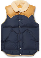 Rocky Mountain Featherbed Christy Leather-trimmed Quilted Nylon Down Gilet - Navy