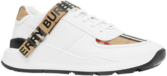 Burberry Men's Ronnie Check & Leather Low-Top Sneakers