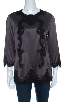Dolce & Gabbana Grey Satin Scallop Lace Insert Long Sleeve Top L