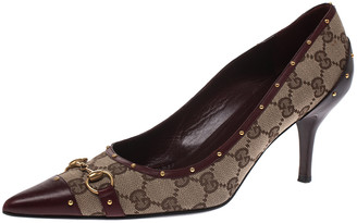 Gucci Guccissima Canvas And Brown Leather Studded Horsebit Pointed Toe Pumps Size 40