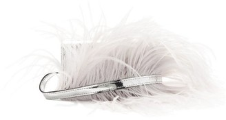 Marques Almeida Feather-trimmed Metallic-leather Belt Bag - Silver