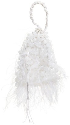 Cult Gaia Dory Ostrich Feather & Beaded Wristlet