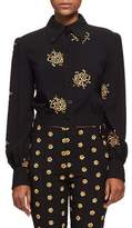 Chloé Embroidered Flower Button-Front Jacket, Black/Gold