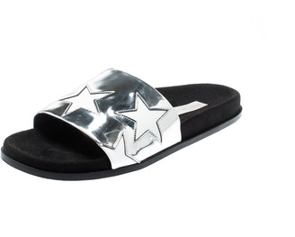 Stella McCartney Metallic Silver/White Leather Star Flat Slides Size 38